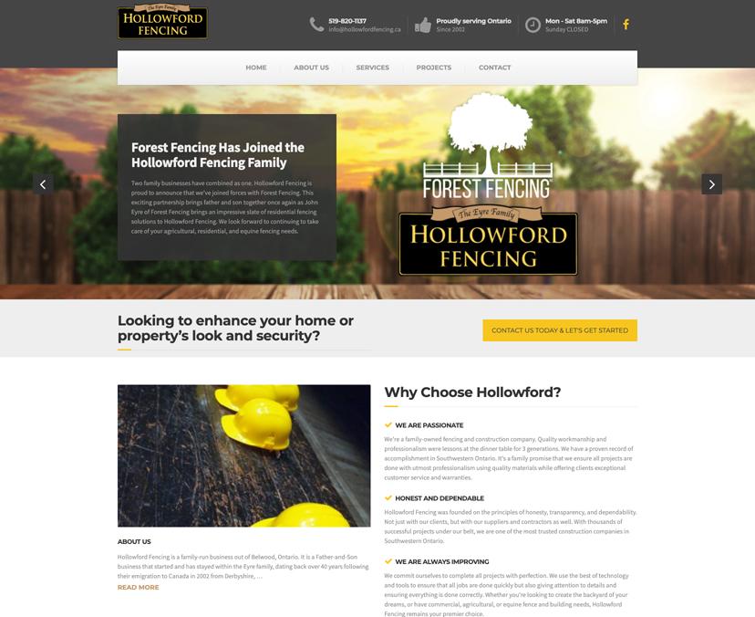 Hollowford Fencing Website Screenshot